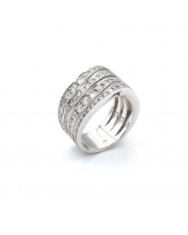 CAPECE GIOIELLIERI wave ring in white gold and diamonds