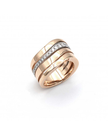 CAPECE GIOIELLIERI wave ring in rose gold, white and diamonds