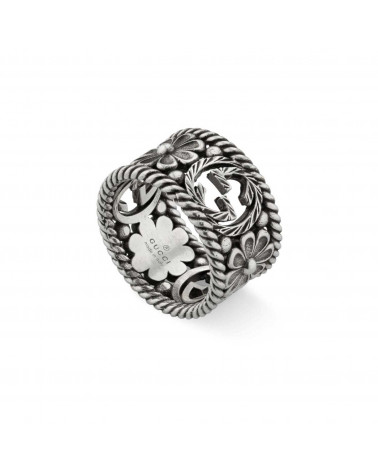 GUCCI GG ring in silver and flowers