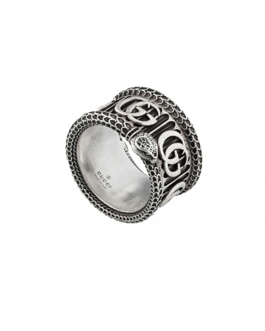 GUCCI Silver ring with Double G and snake