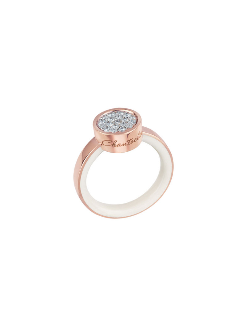 Paillettes ring in 18Kt pink gold and white diamonds