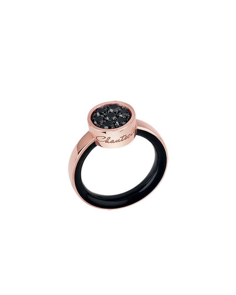 Paillettes ring in 18Kt pink gold and black diamonds