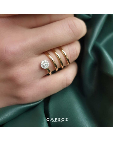 CAPECE GIOIELLIERI Spiral ring in yellow and white gold with brilliants art. 020521