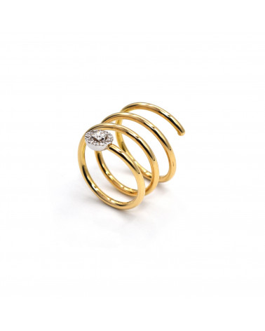 CAPECE GIOIELLIERI Spiral ring in yellow and white gold with brilliants cod. 020521