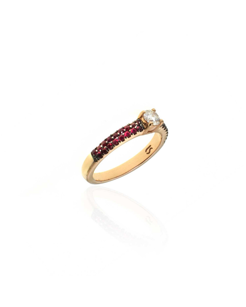 CAPECE GIOIELLIERI ring with rubies and central brilliant cod.729a06mp
