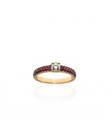 CAPECE GIOIELLIERI ring with rubies and central brilliant cod. 729a06mp
