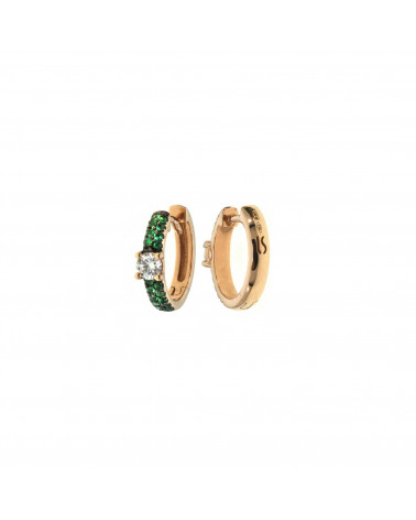 CAPECE GIOIELLIERI pink gold circle earrings with diamonds and emeralds cod. 729o08mp