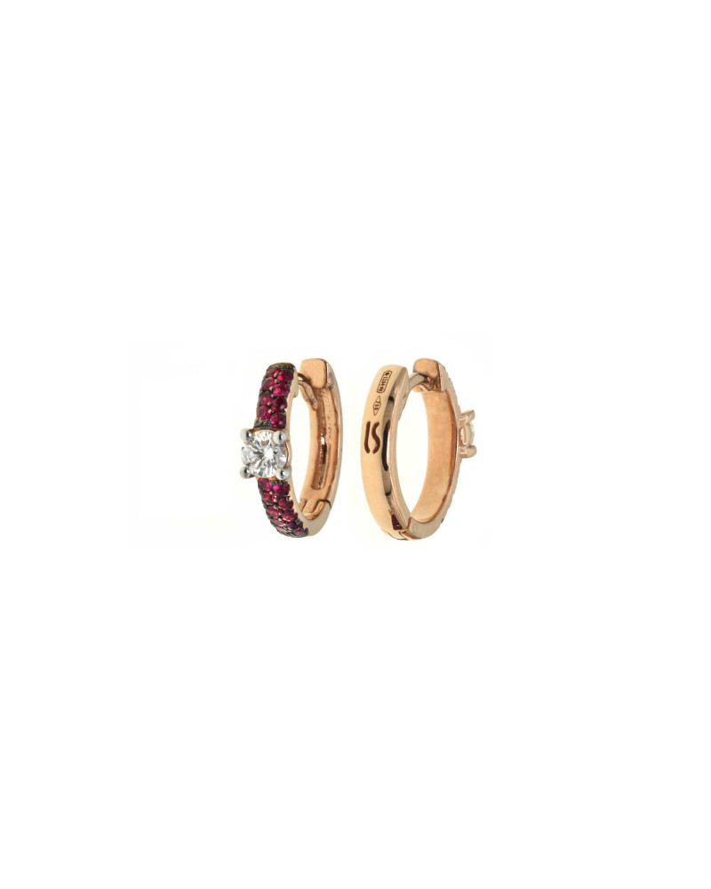 CAPECE GIOIELLIERI pink gold circle earrings with diamonds and rubies cod. 729o02mp