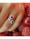 CAPECE GIOIELLIERI anello con rubino taglio cuore e brillanti cod. 020770