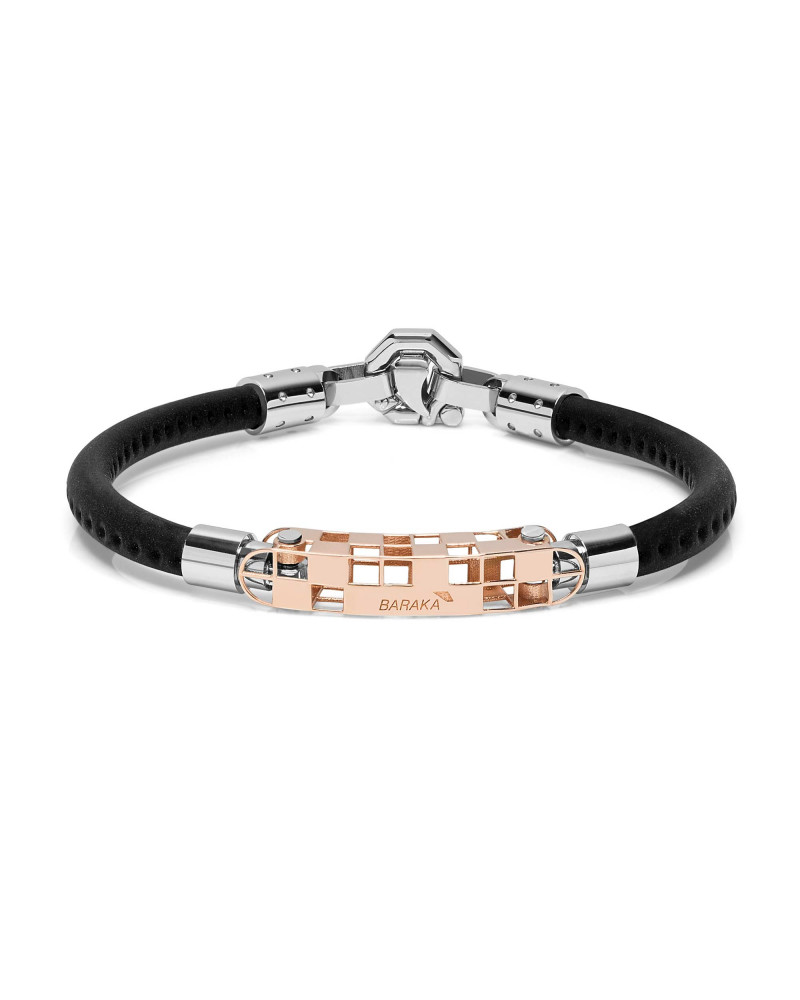 BARAKA' bracelet in rose gold, stainless steel and rubber cod.BR272101ROAC200000