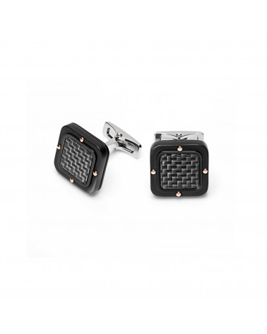BARAKA' cufflinks in rose gold, steel and carbon fiber cod.PS261251GRCO