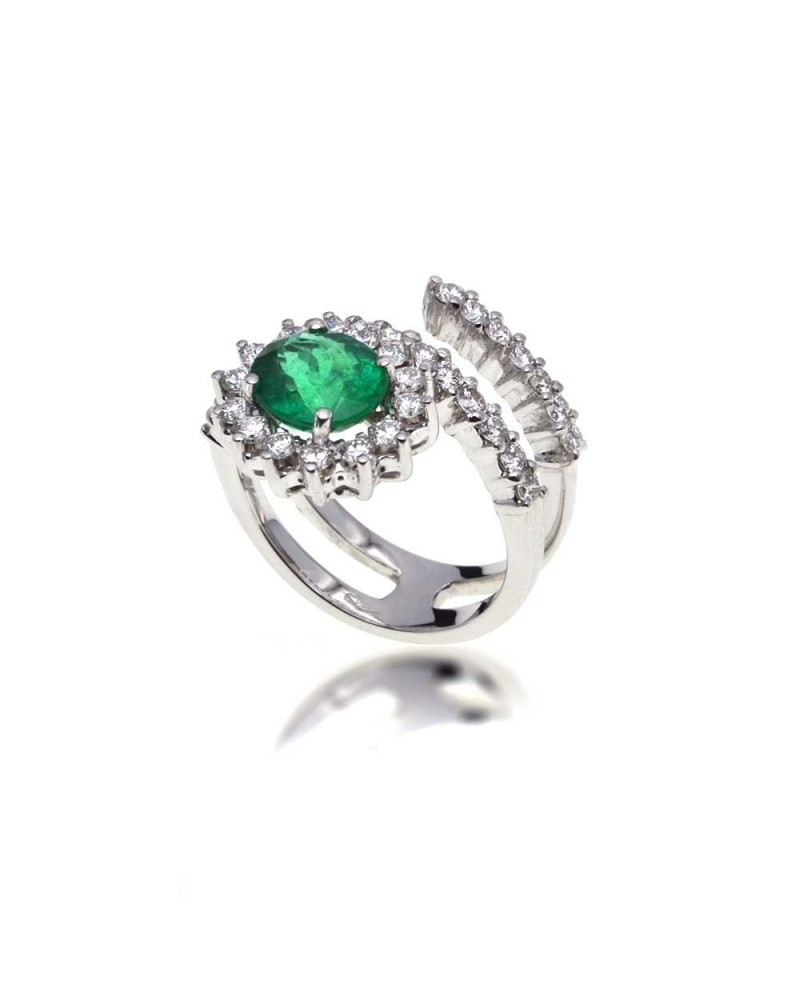 CAPECE GIOIELLIERI Snake ring with emerald