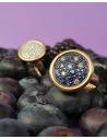 CAPECE GIOIELLIERI Round ring with sapphire and brilliants pave cod. 018642
