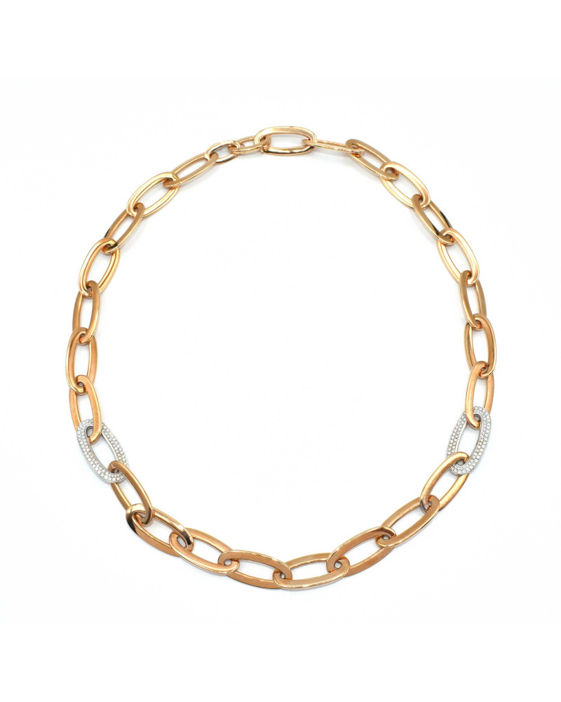 CAPECE GIOIELLIERI Necklace with oval links with diamonds cod. 020583