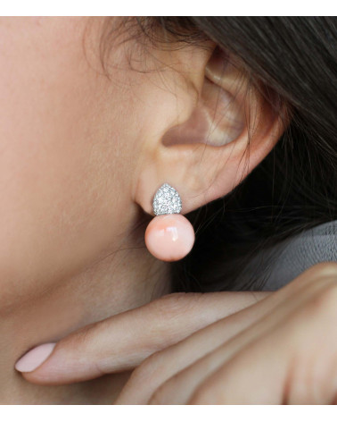 CAPECE GIOIELLIERI Earrings with pink coral and diamonds cod.020902