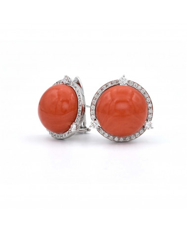 CAPECE GIOIELLIERI Earrings with half-sphere red coral and diamonds