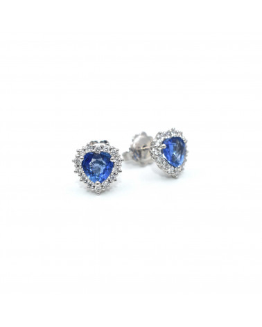 CAPECE GIOIELLIERI Heart earrings with sapphires and diamonds