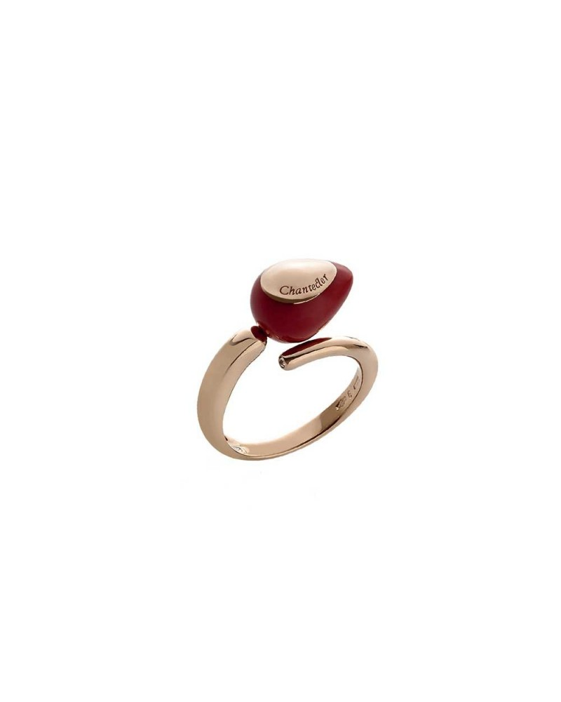 CHANTECLER Contrariè ring with red coral drop