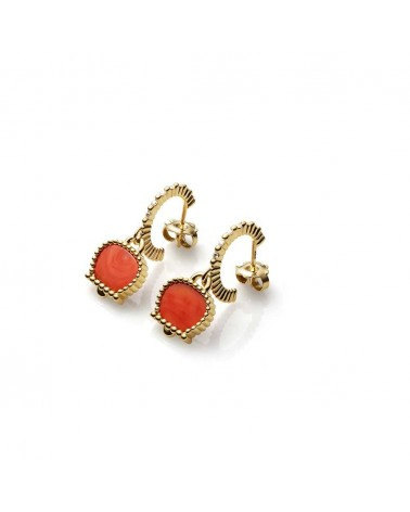 CHANTECLER Small circle earrings in yellow gold and diamonds
