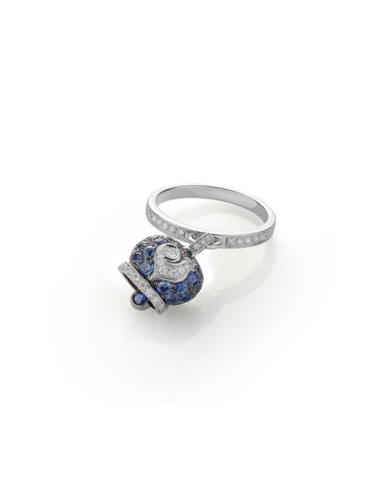 CHANTECLER Small campanella ring in burnished white gold