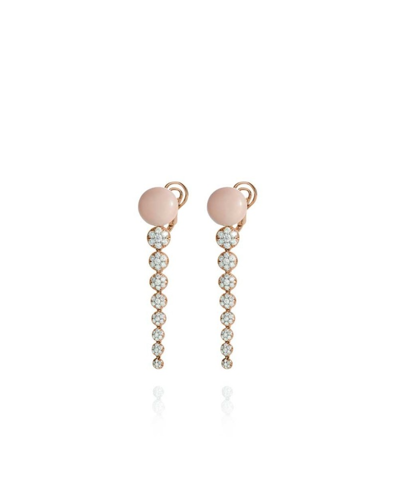 CHANTECLER Pendant earrings in pink gold, diamonds and pink coral