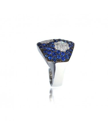 CAPECE GIOIELLIERI Ring with sapphires and pave diamonds