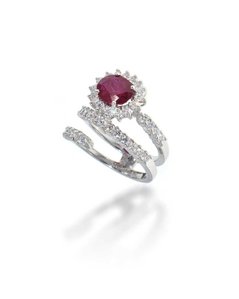 CAPECE GIOIELLIERI Spiral ring with ruby and diamonds