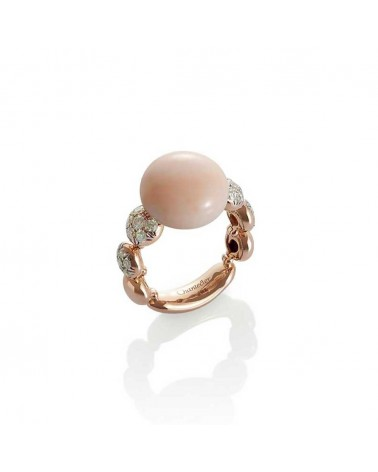CHANTECLER Ring in pink gold, diamonds and pink coral