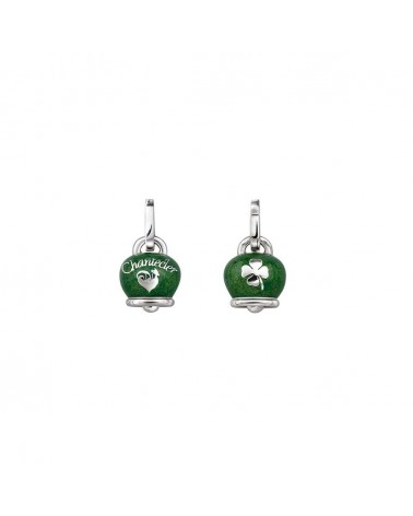 Medium double face Campanella charm in silver and pearl green enamel, with four-leaf clover on the back