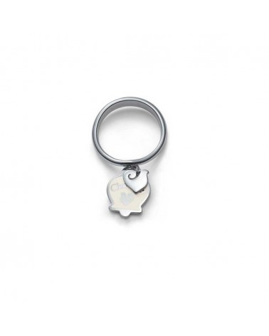 CHANTECLER Ring With 2 Hanging Symbols In White Enamel