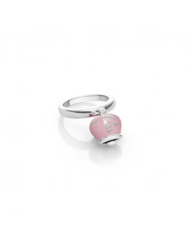 Anello campanella double face in argento e smalto rosa con sirena sul retro