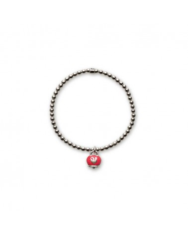 CHANTECLER Elastic bracelet in silver with bell pendant